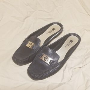 Black Loafer Slides Genuine Leather